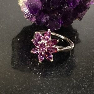 Jewelry - Simulated Amethyst Sterling Silver Floral Ring